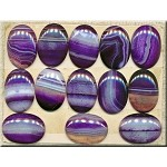 Agate Cab, 30x21mm Calibrated Banded Purple Agate Cabochon, Gemstone Cab (1)