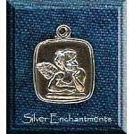 Sterling Silver Square Angel Medallion Charm