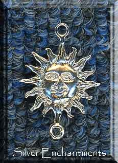 Sterling Silver Medieval Sun Dangler Pendant or Jewelry Link Finding