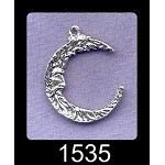 Sterling Silver Double-Sided Crescent Moon Pendant