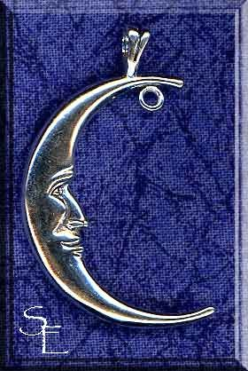 Sterling Extra-Large Crescent Moon Pendant with Split Bail & Dangler