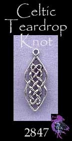 Sterling Silver Celtic Charm Necklace, Double Teardrop Ladder Knot Charm, 22x8mm Celtic Jewelry