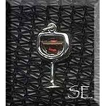 Red Wine Charm, Sterling Silver