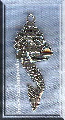 Sterling Silver Mermaid Pendant With Sea Shell Mermaid