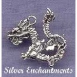Sterling Silver 3D Dragon Charm