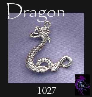 Sterling Silver Serpent Dragon Pendant, Wyrm Dragon Necklace