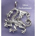 Bailed Sterling Silver Guardian Dragon Pendant, Dragon Jewelry