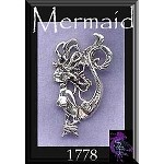 Sterling Silver Exotic Sea Siren Mermaid Charm Pendant, 34x20mm