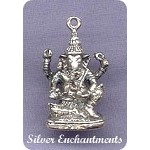 Sterling Silver Ganesha, 3D Seated Ganesha Pendant - Hindu Lord of Success