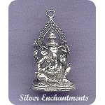 Sterling Silver Ganesha, 3D Seated Ganesha with Lotus Pendant or Altar Statue, Lord of Success