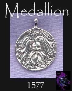 Sterling Silver Bearded Norse God Pendant, Bailed Medallion Asatru Heathen Necklace Pendant