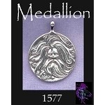 Sterling Silver Bearded Norse God Medallion Pendant, Bailed Asatru Heathen Necklace Pendant