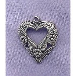 Sterling Silver Flowers and Leaves Heart Pendant