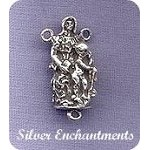 Sterling Silver Holy Family Rosary Y Component, Catholic Rosary Connector