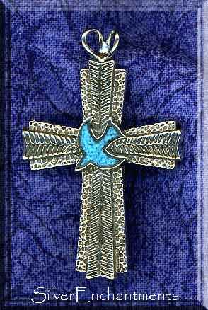 Sterling Silver Large Turquoise Inlaid Dove Cross with Split Bail