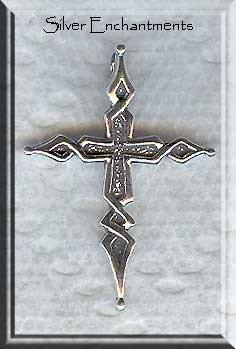 Sterling Silver Ornate Cross with Hidden Bail