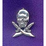 Sterling Silver Pirate Skull and Swords Pendant w Hidden Bail