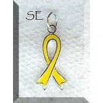 Yellow Ribbon Charm, Sterling Silver and Enamel Yellow Awareness Ribbon Jewelry