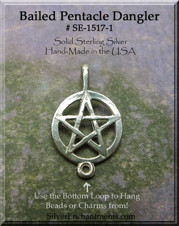 Sterling Silver Bailed Pentacle with Drop Loop, Pagan Jewelry Supply