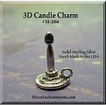Sterling Silver Candle Charm, 3D Candlestick Charm, 14x10x9mm