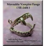 Sterling Silver Vampire Fangs Charm, 3D Moveable Charm