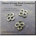 Sterling Silver Small Clover Connector, 4-Loop Shamrock Beading Finding, 8mm (1)
