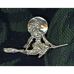 Sterling Silver Witch on Broom Pendant