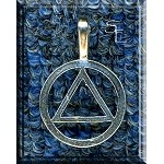 Sterling Silver Bailed AA Symbol - Sobriety Symbol Pendant, 32x21mm