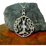 Sterling Silver Cernunnos Necklace, Celtic God Jewelry, Horned God Druid-Pagan Jewelry