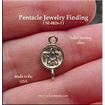 Sterling Silver Pentacle Connector Finding with Loop, Pagan Jewelry Findings