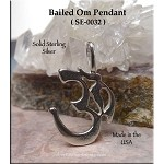Sterling Silver Om Pendant, Bailed Om Symbol Necklace