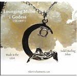 Sterling Silver Lounging Goddess on Moon Pendant with 4mm Gemstone Cab Area