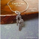 Sterling Silver Candy Cane Charm, Candycane with Bow Christmas Jewelry
