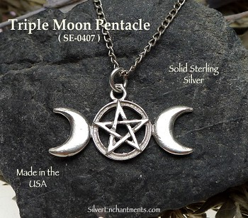 Sterling Silver Triple Moon Pentacle Pendant