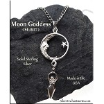 Sterling Silver Moon with Dangling Goddess Pendant