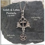 Sterling Silver Egyptian Ankh and Lotus Pentacle Pendant