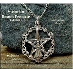 Sterling Silver Victorian Besom Pentacle Pendant