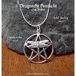 Sterling Silver Dragonfly Pentacle Pendant Necklace, Dragonfly Pentagram Jewelry