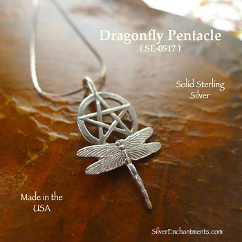Sterling Silver Dragonfly Pentacle Necklace, Drragonfly Pentagram Pendant, Pagan Jewelry