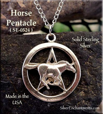 Sterling Silver Horse Pentacle Necklace, Pentagram with Horse Penant, Pagan Jewelry