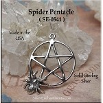 Sterling Silver Spider Pentacle Pendant