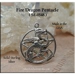 Sterling Silver Dragon Pentacle Necklace, Pagan Fire Dragon Jewelry