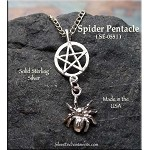 Sterling Silver Pentacle Pendant with Dangling 3D Spider
