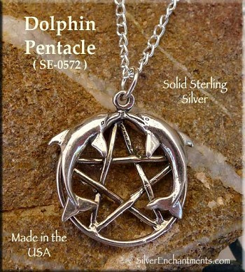 Sterling Silver Kissing Dolphin Pentacle Pendant, Dolphin Pentagram Jewelry