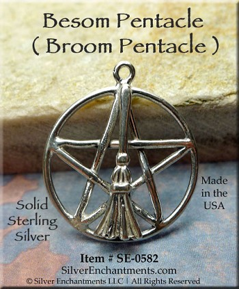 Sterling Silver Besom Pentacle Necklace, Broom Pentagram Pendant, Witch's Broom Jewelry
