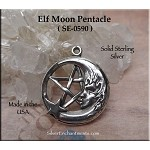 Pagan Fairy Jewelry, Sterling Silver Elf Moon Pentacle Pendant