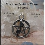 Sterling Silver Musician Pentacle Charm