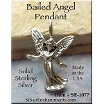 Sterling Silver Angel Pendant, Bailed 3D Robed Angel Necklace