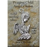 Sterling Silver Praying Angel Charm-Pendant, Angel Jewelry
