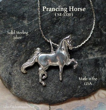 Sterling Silver Horse Pendant, Bailed Prancing Horse Necklace